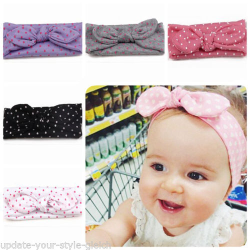 Haarband Baby Mädchen elastisch Schleife  Stirnband Baby Haarschmuck Polka Dots