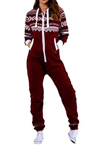 Amberclothing Damen Jumpsuit, Aztekisch X-Large Gr. Small, Rot - Weinfarben