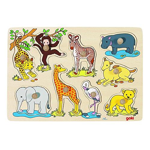 Goki 57829 - Steckpuzzle - afrikanische Tierkinder