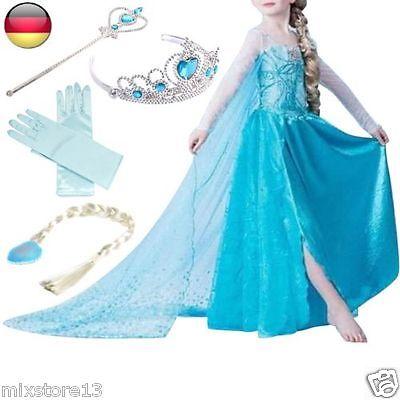 Frozen Eiskönigin Prinzessin Kostüm Kinder Glanz Kleid Mädchen Weihnachten Fest