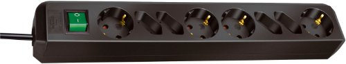 Brennenstuhl Eco-Line, Steckdosenleiste 8-fach (4 Schutzkontakt- und 4 Euro-Steckdosen, mit Schalter und 1,5m Kabel) Farbe: schwarz