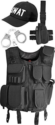 SWAT Kostüm bestehend aus Weste, Pistolenholster, Cap und Handschellen Größe M
