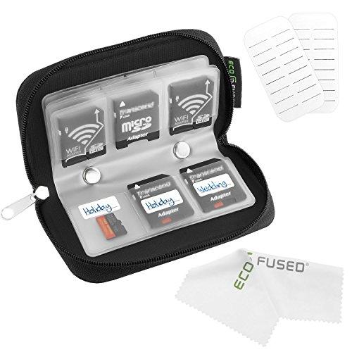 Speicherkarten- Tragetasche - Geeignet für SDHC und SD Cards - 8 Seiten und 22 Slots - ECO -kondensierten Mikrofaser Reinigungstuch Inklusive (Schwarz)
