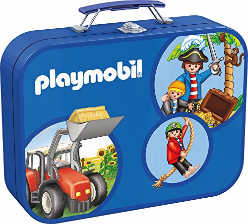 Schmidt Spiele 55599 - Playmobil, Puzzle-Box 2 x 60, 2 x 100 Teile im Metallkoffer