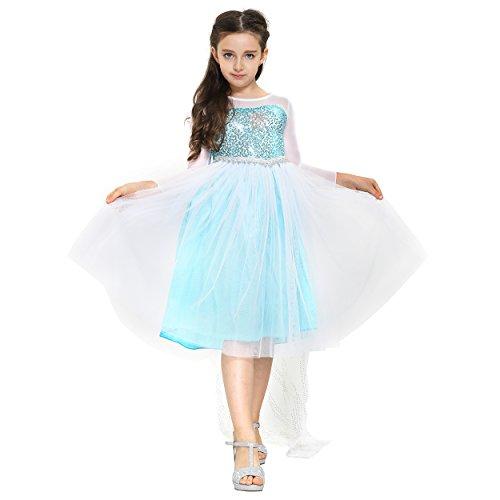 Katara 1718 - Eisprinzessin Königin Elsa Mädchen Ball Langarm-Festkleid Kinder-Kostüm mit Tüll-Rock - Disney-inspiriert mit Glitzer, Schleier - Verkleidung zu Karneval, Weihnachten - 104/110 Weiß/Blau