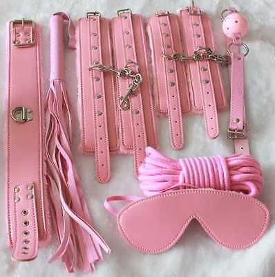 High Quality Pink Faux Fur Lined Bondage Set Kit - Luxury Fetish Roleplay Slave