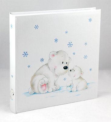 Eisbär Fotoalbum 30x30 cm 100 weiße Seiten Baby Kinder Foto Album Fotobuch