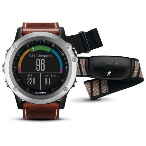 Garmin Fenix 3 Saphir - Performer Bundle (Silber & Leder) Smartwatch Sportuhr