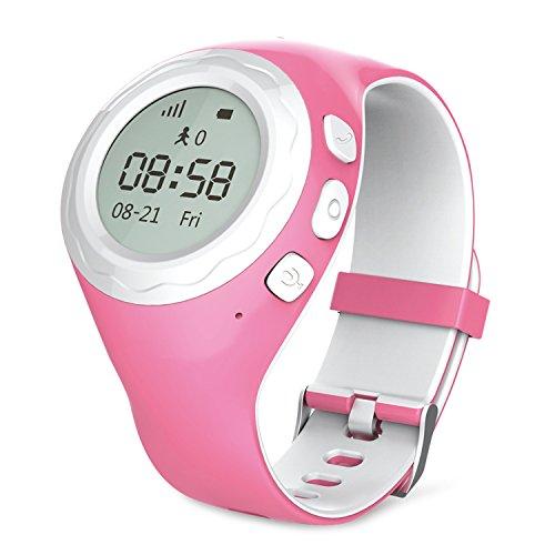 Lokato Kidswatch - Kinder GPS Telefon-Uhr, SOS Smartwatch mit Ortung, Tracker & Phone - App für iPhone & Android, Pink, inkl. SIM-Karte