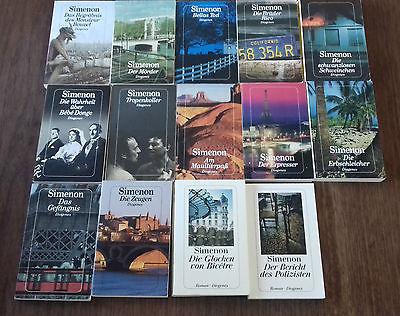 14 Romane von Georges Simenon. Alles Diogenes-Ausgaben