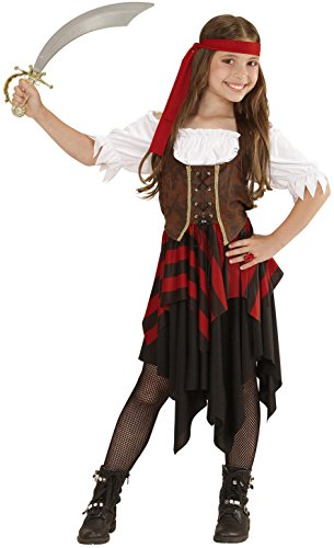 Widmann 05596 - Kinderkostüm Piratin, Kleid, Korsett und Stirnband