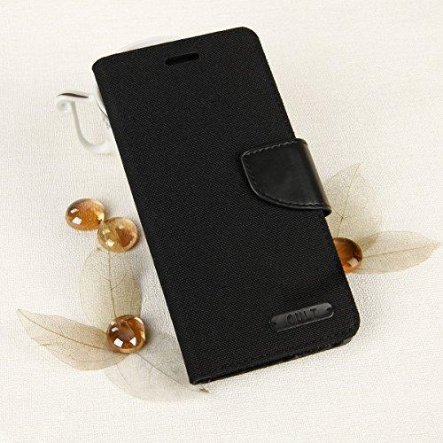 EGO® Bookstyle Handy Tasche mit praktischer Aufstellfuntkion für Samsung Galaxy S5 G900F Schwarz Flip Case Magnetverschluss Book Cover mit Kartenfach Wallet Stand Schutz Hülle Canvas