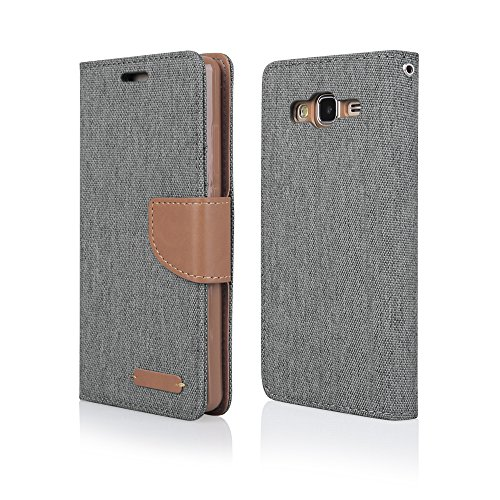 EGO® Bookstyle Handy Tasche mit praktischer Aufstellfuntkion für Samsung Galaxy J5 J510 (2016) Grau Flip Case Magnetverschluss Book Cover mit Kartenfach Wallet Stand Schutz Hülle Canvas ACHTUNG: nicht für J5 J510 2016 ist zu klein !!!