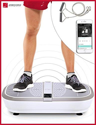 Sportstech Profi Vibrationsplatte VP300 mit 3D Wipp Vibrations Technologie + Bluetooth A2DP Musik, Riesige Trittfläche,2 Kraftvolle Motoren + unvergleichbares Design + Trainingsbänder + Fernbedienung