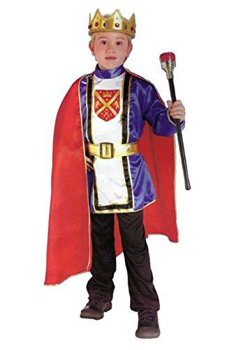 5-teiliges Kinderkostüm König - Inhalt: Krone, Umhang, Tunika, Hose, Gürtel - S - Gr. 116 (4-6 Jahre)