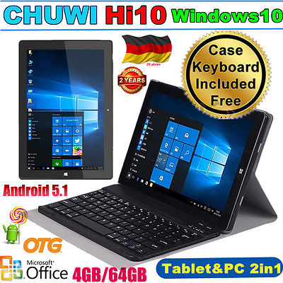 4GB/64GB 10.1'' CHUWI HI10 TABLET PC WINDOWS10 + ANDRIOD5.1 1920X1200 +Keyboard