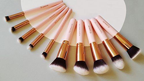 Make-Up Pinselset Kosmetik Kabuki Pinsel Set - 10 Teiliges Premium Schminkpinsel Set (Puderpinsel Foundation Pinsel Inkl.) - Ideal für Puder, Cremige oder Flüssige Foundation und andere Makeup Produkte - Super Geschenkidee - Angebotspreis nur für kurze Ze