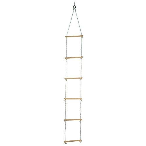 Strickleiter mit sechs Holzsprossen, tolles Kletterspielzeug für drinnen und draußen, einfache Montage, belastbar bis ca. 75 kg