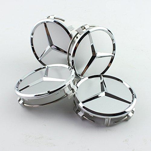 4×75mm Silber-Stil Nabenabdeckung Legierung Radnabenkappen für MERCEDES BENZ
