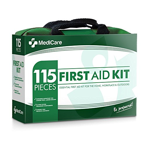 Das MediCare Deluxe Erste-Hilfe-Set (115 Artikel) Das wichtigste Erste-Hilfe-Zubehör für zu Hause, Reise, Zelten, Büro und Arbeitsplatz