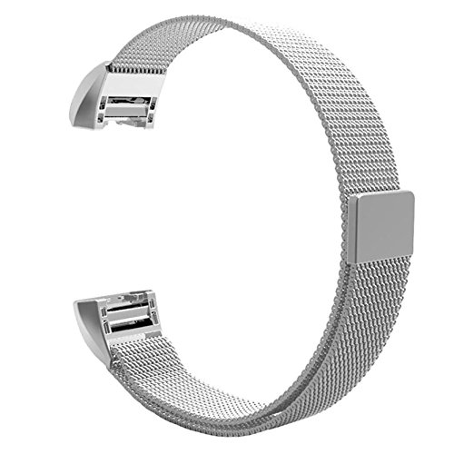 Hanlesi Fitbit Charge 2 Armband , Edelstahl Armbanduhren Watch Band Fitness für Fitbit Charge 2 -silver