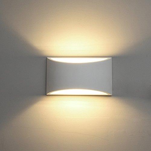 Deckey 3W LED Wandleuchte Gipslampe Wandlampe modern Design aus Gips LED Wandbeleuchtung Warmweiß (HR1102, Warmweiß)