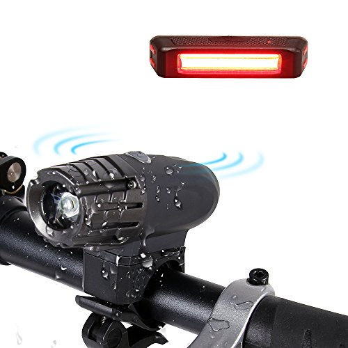 amarey Wiederaufladbare LED Fahrradbeleutung,Wasserdichte Fahrradlampe Set mit 2 USB-Kabel,LED Frontlicht & Rücklicht,200Lumen,4 Licht-Modi, Fahrradlicht für Radfahren