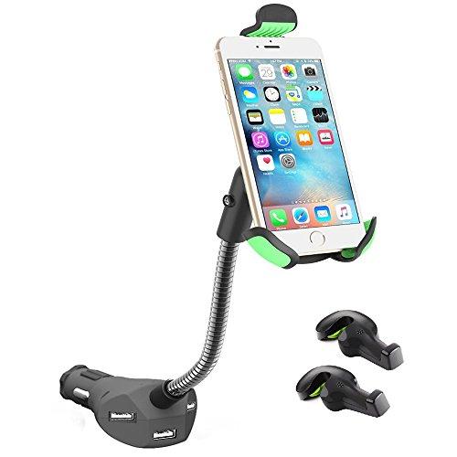 Handy Klemmhalterung Bestech Kfz Ladegerät 5.5 A Dual USB AutoLadegerät für 3,5 - 6,3 Zoll Smartphone iPhone, HTC, LG, Blackberries (schwarz)