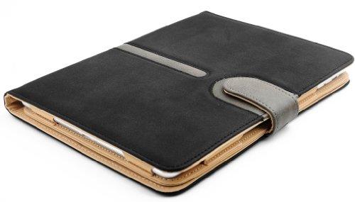 JAMMYLIZARD | 360 Grad rotierende Wallet Hülle für iPad Air (5. Generation) Smart Cover aus Wildleder, SCHWARZ