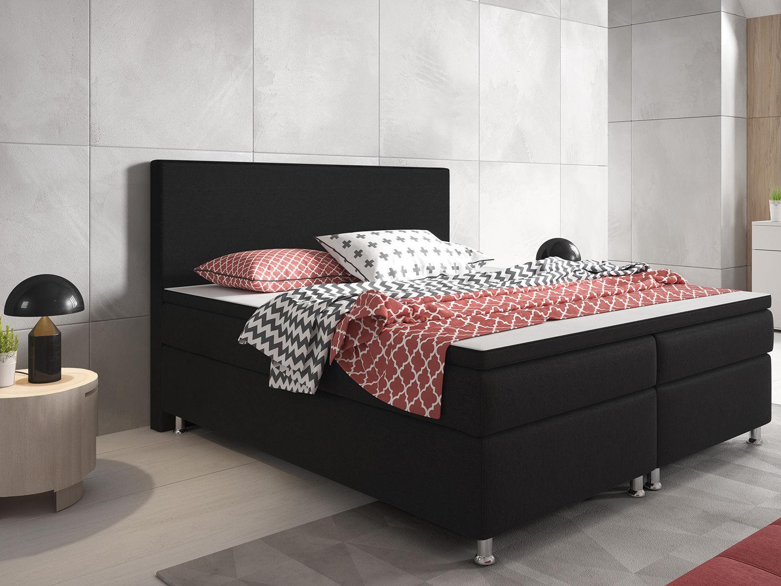 Boxspringbett Berlin Bett Hotelbett Designerbett 180x200 cm Webstoff Schwarz