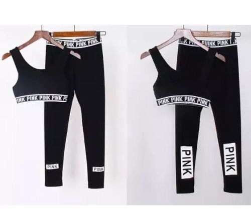 Victorias Secret PINK Black White Crop Bra Top Leggings Gym Yoga Set M MEDIUM 10