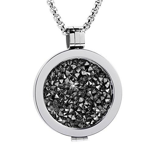 Meilanty Damen Halskette 80cm Edelstahl Anhänger Silber mit Auswechselbare Coin 33mm WZ-E