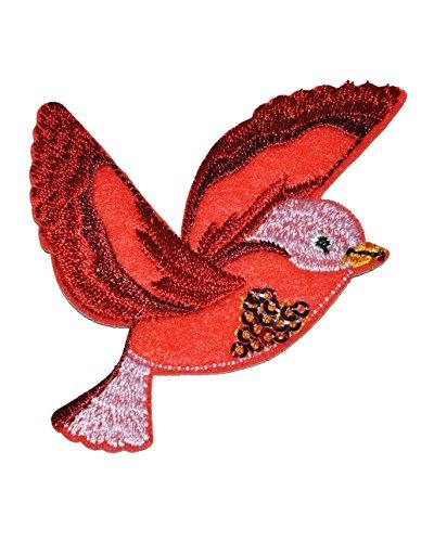 Bügelbild - Paradies Vogel rot - 6,5 cm * 6,5 cm - Aufnäher Applikation - gestickter Flicken mit fest afgenähten Pailletten - Vögel Kolibris