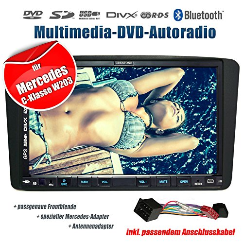 2DIN Autoradio CREATONE CTN-9268D56 für Mercedes C-Klasse W203 (03/2000-08/2004) mit GPS Navigation, Bluetooth, Touchscreen, DVD-Player und USB/SD-Funktion