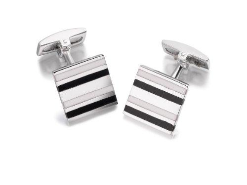 Hoxtons London Herren Sterling Silber Schwarz /Weißgestreifte Emaille Viereckige Manschettenknöpfe