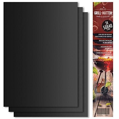 Grillmatte (3er Set) zum Grillen und Backen | aus Silikon mit Teflon Antihaftbeschichtung für bis 300°C | extra Groß und langlebig | 0.3 mm dick - 40x50 cm | ideal für Gas - Kohle - E-Grill und Backofen geeignet | LFGB und FDA Zulassung