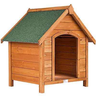 XXL Hundehütte Massiv Holz Hundehaus Wetterfest 83cm Echtholz mit Dachluke Hund