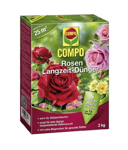 COMPO Rosen Langzeit-Dünger, hochwertiger Spezial-Langzeitdünger, für alle Rosenarten und andereBlütensträucher, sowie Schling- und Kletterpflanzen, 2 kg
