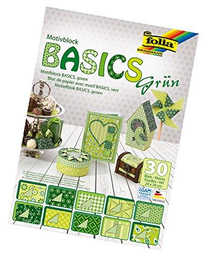 Folia 46549 - Motivblock Basics, 24 x 34 cm, 30 Blatt sortiert, grün