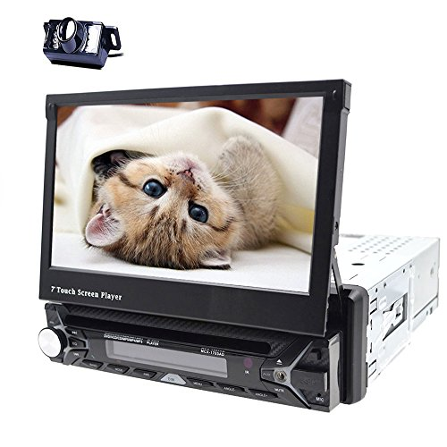 HD Wasserdicht Rückfahrkamera + 17,8cm 1DIN Auto DVD Player GPS Navigation Digital Touchscreen Autoradio Bluetooth Kfz Radio Empfänger FM AM Audio + GPS ANTENNE + 8g Karte