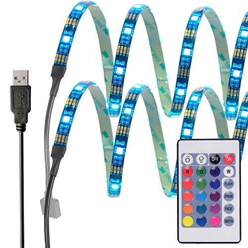 InnoBeta® 50cm(19.6 Zoll)X2 Mehrfarben-LED-Bias Hintergrundbeleuchtung Licht DC5V 7.2W IP65 flexible wasserdichte RGB USB-Streifen für TV, HDTV, LCD-Bildschirm, Laptop, PC, Schlafzimmer, Studio, Musikinstrumente, Gitarre, bessere Atmosphäre und reduzieren