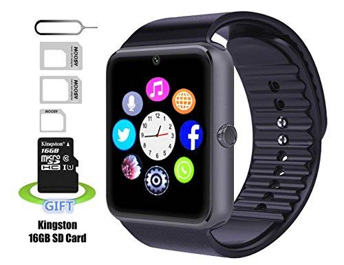 Smart watch,Intelligente Uhr, Android smartwatch, iphone intelligente Uhr, Pushman 1, täglich wasserdicht, Stoßfest, SmartPhones, intelligente Uhr für Android, intelligente Uhr für iphone6 / 6s / 7 (Black)