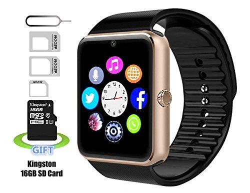 Smart watch,Intelligente Uhr, Android smartwatch, iphone intelligente Uhr, Pushman 1, täglich wasserdicht, Stoßfest, SmartPhones, intelligente Uhr für Android, intelligente Uhr für iphone6 / 6s / 7 (Gold)