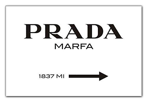Modeschild Wegweiser zum konsumkritischen Marfa Kunstwerk in Texas - Leinwandbild - Bild auf Leinwand diverse Größen Leinwandbild XXL, fertig gerahmter Kunstdruck zum aufhängen bereit (120x80cm)