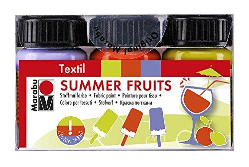 Marabu 171600098 - Textilfarben Set - Summer Fruits, 3 x 15 ml