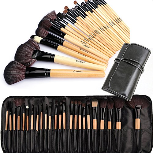 Cadrim 24 teilig Make Up Pinselset Kosmetik Pinsel Lidschattenpinsel Rougepinsel Set mit Tasche
