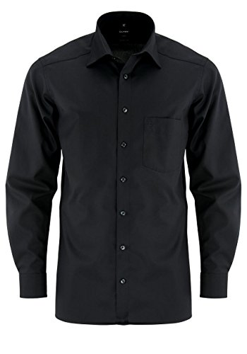 OLYMP Modern Fit Hemd Langarm Popeline schwarz