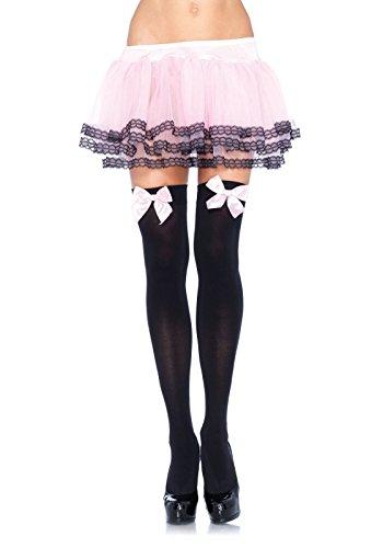 Leg Avenue 6255 - Blickdichte Nylon Overknee Mit Satin Schleife, Einheitsgröße (EUR 36-40), schwarz/rosa, Damen Karneval Kostüm Fasching