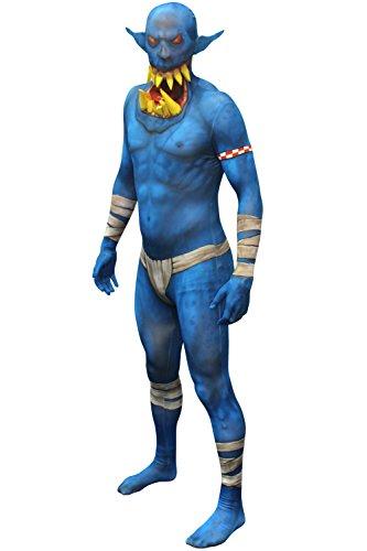 Morphsuits MLORBL - Blau Orc Jaw Dropper Morphsuit Erwachsene Kostüme Large 5 Zoll 4 - 5 Zoll  9, 165 cm - 180 cm, L, Multi