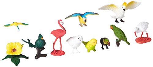 Safari Ltd Exotische Vögel TOOB® 680404 12x handbemalte Sammelfiguren in Tube- Sittich, Quetzal, Papagai, Gelbbrustara, Kolibris, Fischertukan, Scharlachsichler, Kakadus, Flamingo, Schneesichler, Schnee-Eule und Amazonenpapageien